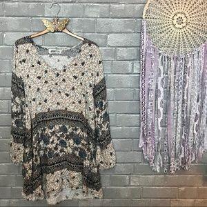 audrey 3+1 // paisley floral print tunic top s/m